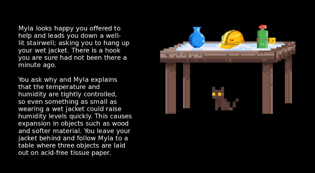 This screenshot shows a table with three collection items on top, and Smidgeon the cat underneath it, and text on the left.
