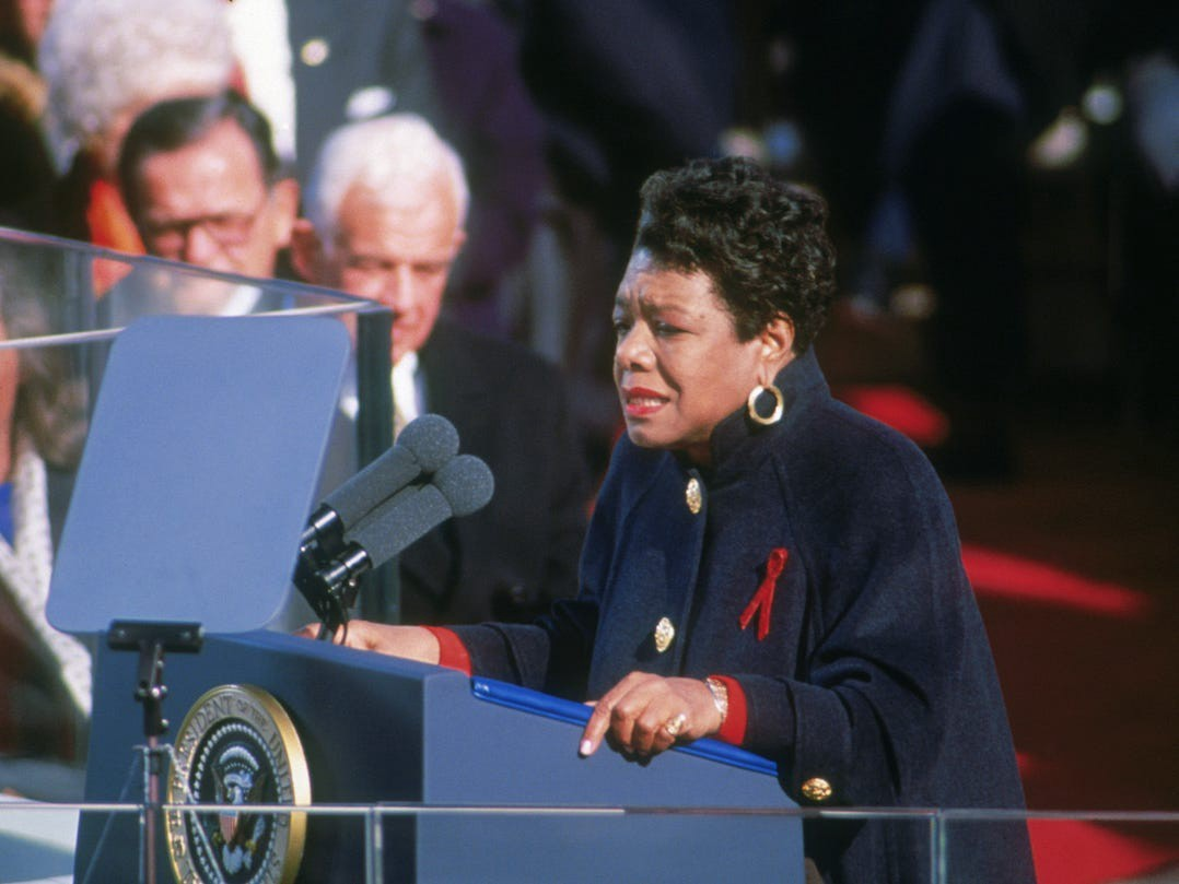 American poet Maya Angelou reciting her poem 'On the Pulse of Morning' at the inauguration of President Bill Clinton.