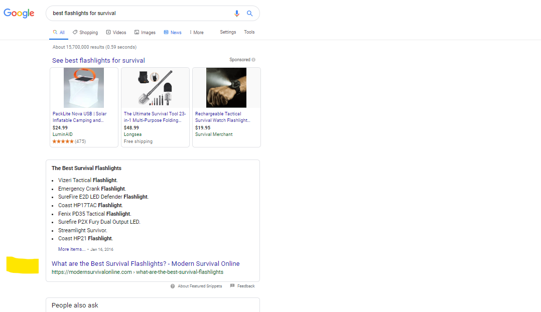 author annotated screenshot showing article chosen as Google Featured Snippet-keyword best flashlights for survival