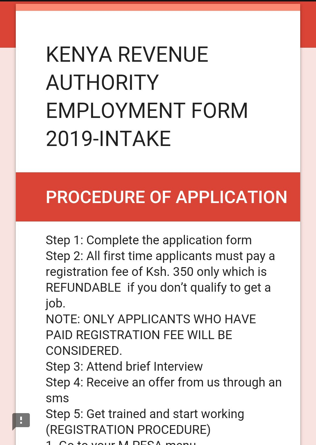 HOAX: This ad asking for a fee to apply for jobs at KRA is fake