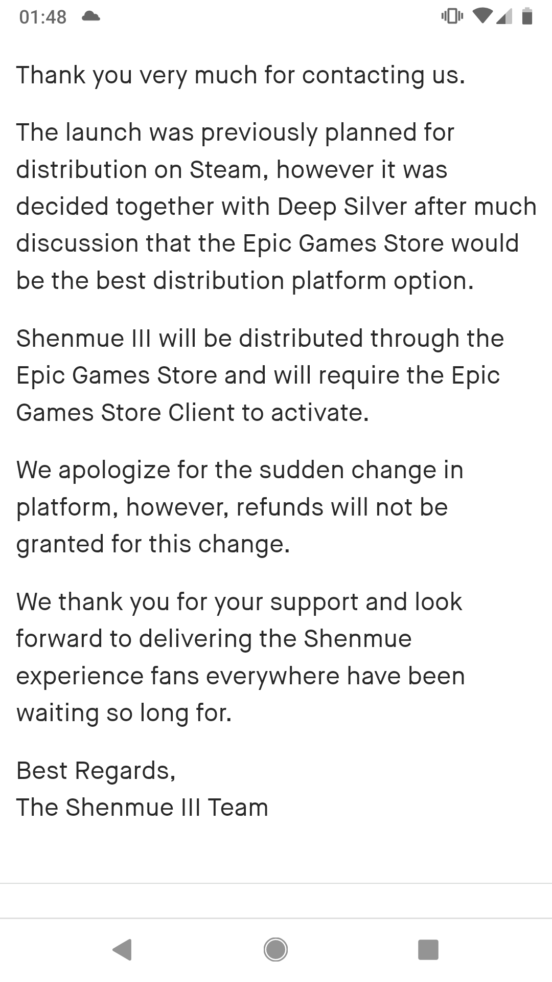 Shenmue III Going Epic Exclusive Leads to Community Uproar