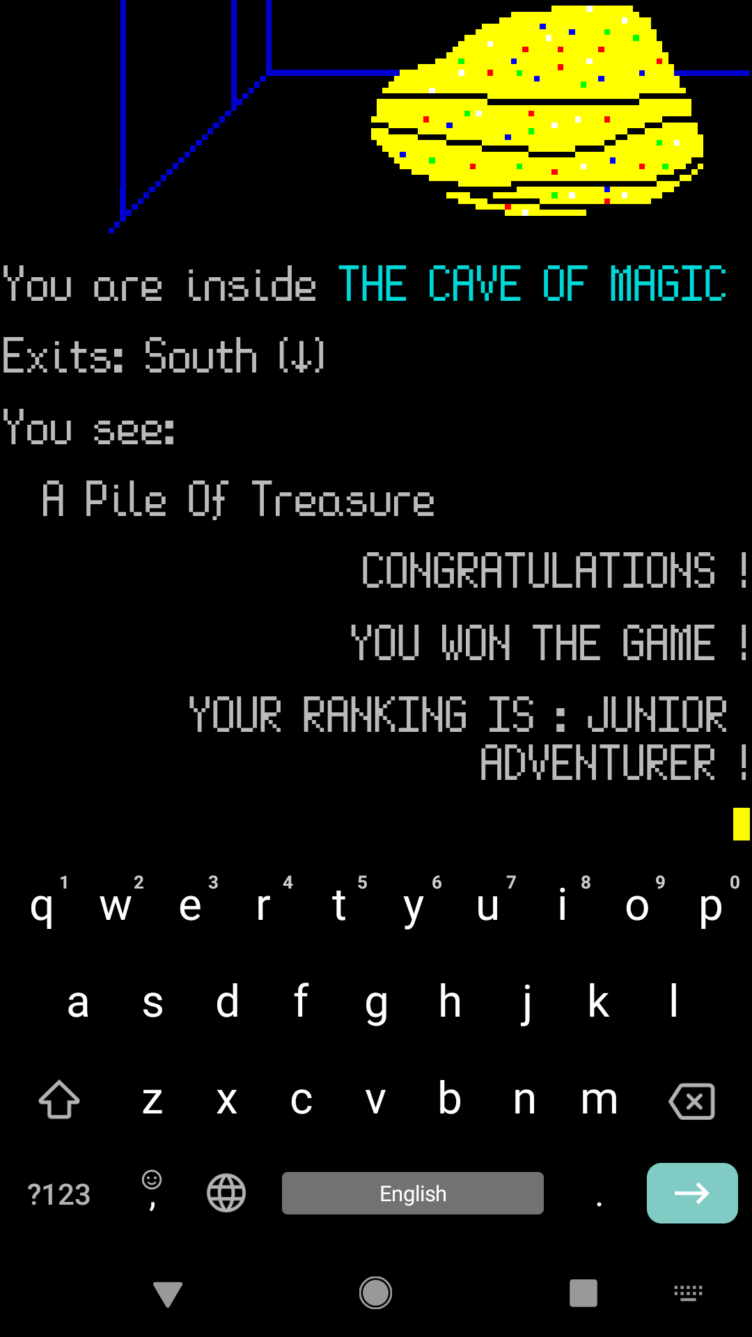 An image of THE CAVE OF MAGIC running on an Android mobile phone