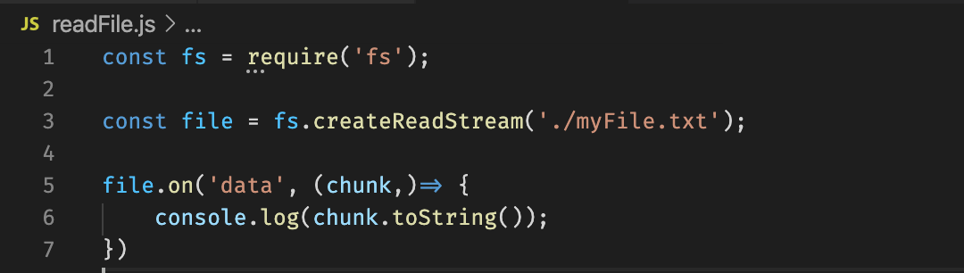 Reading from a file using a readable stream