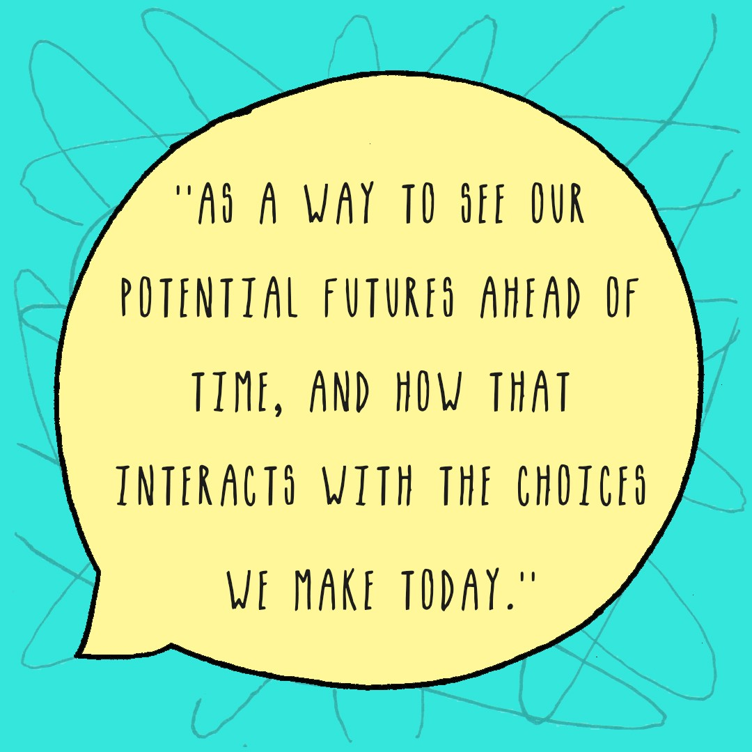 As a way to see out potential futures ahead of time, and how that interacts with the choices we make today.