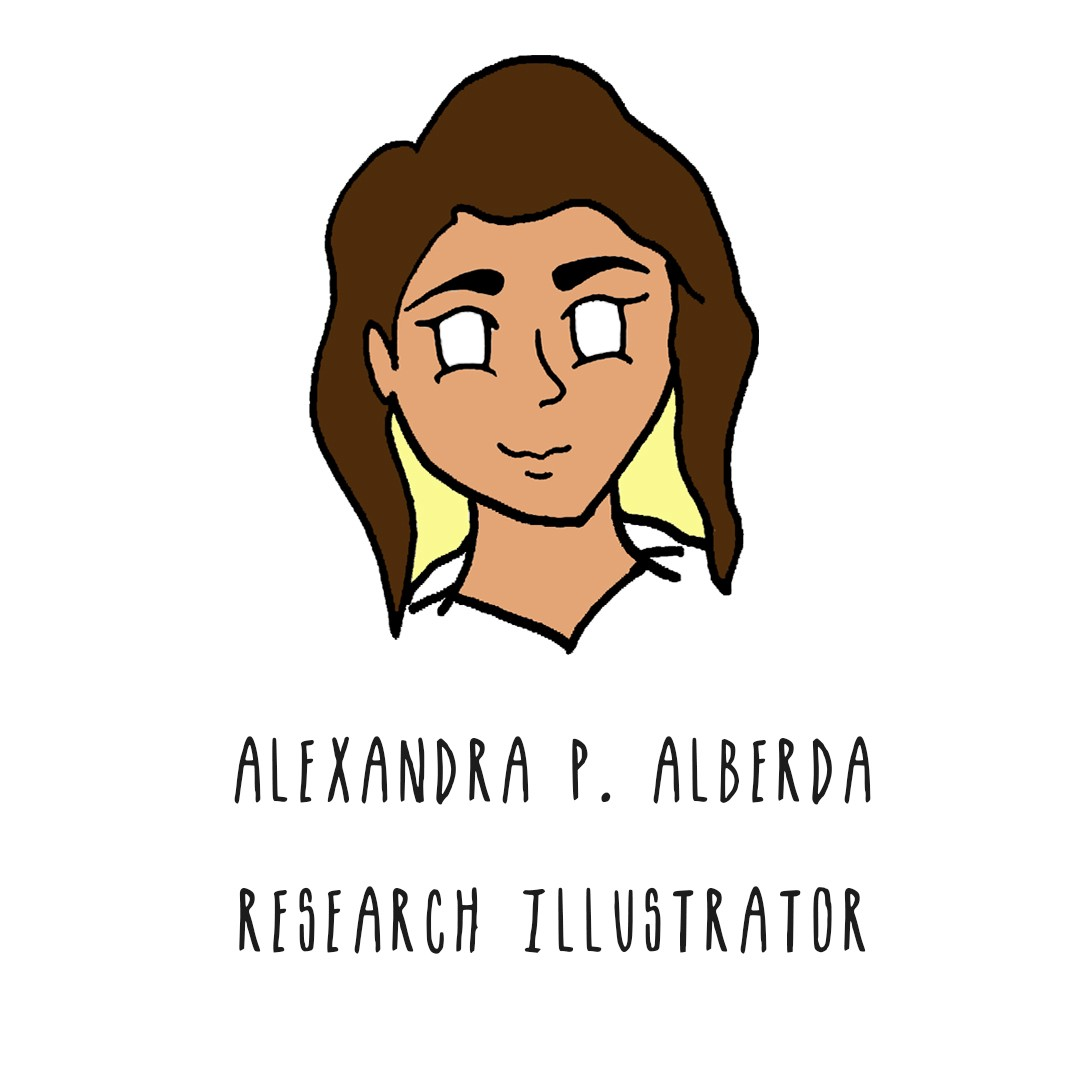 Image of a woman with brown and blonde hair. Text: Alexandra P. Alberda, research illustrator.