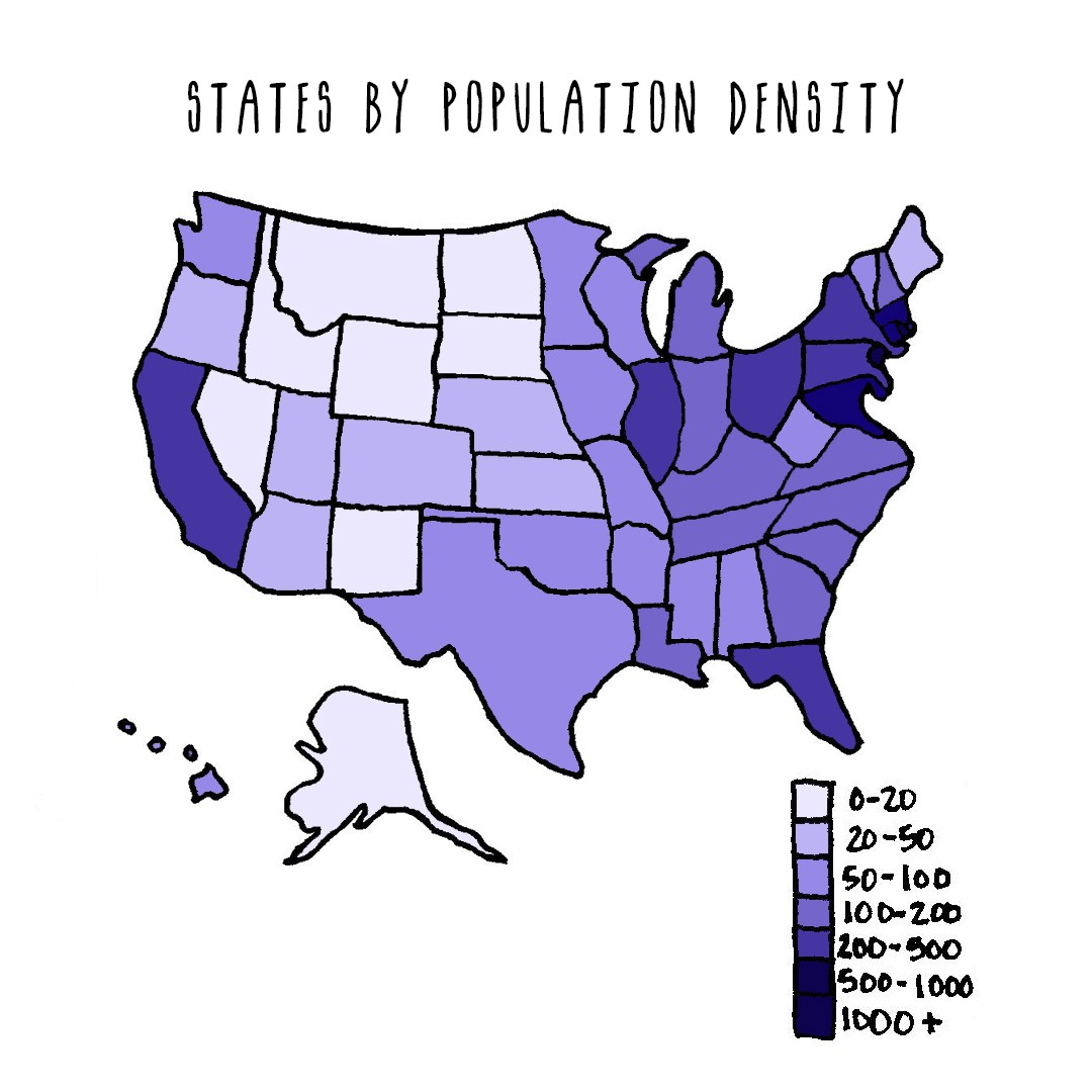 Map of the United States colored shades of purple to show states by population density.