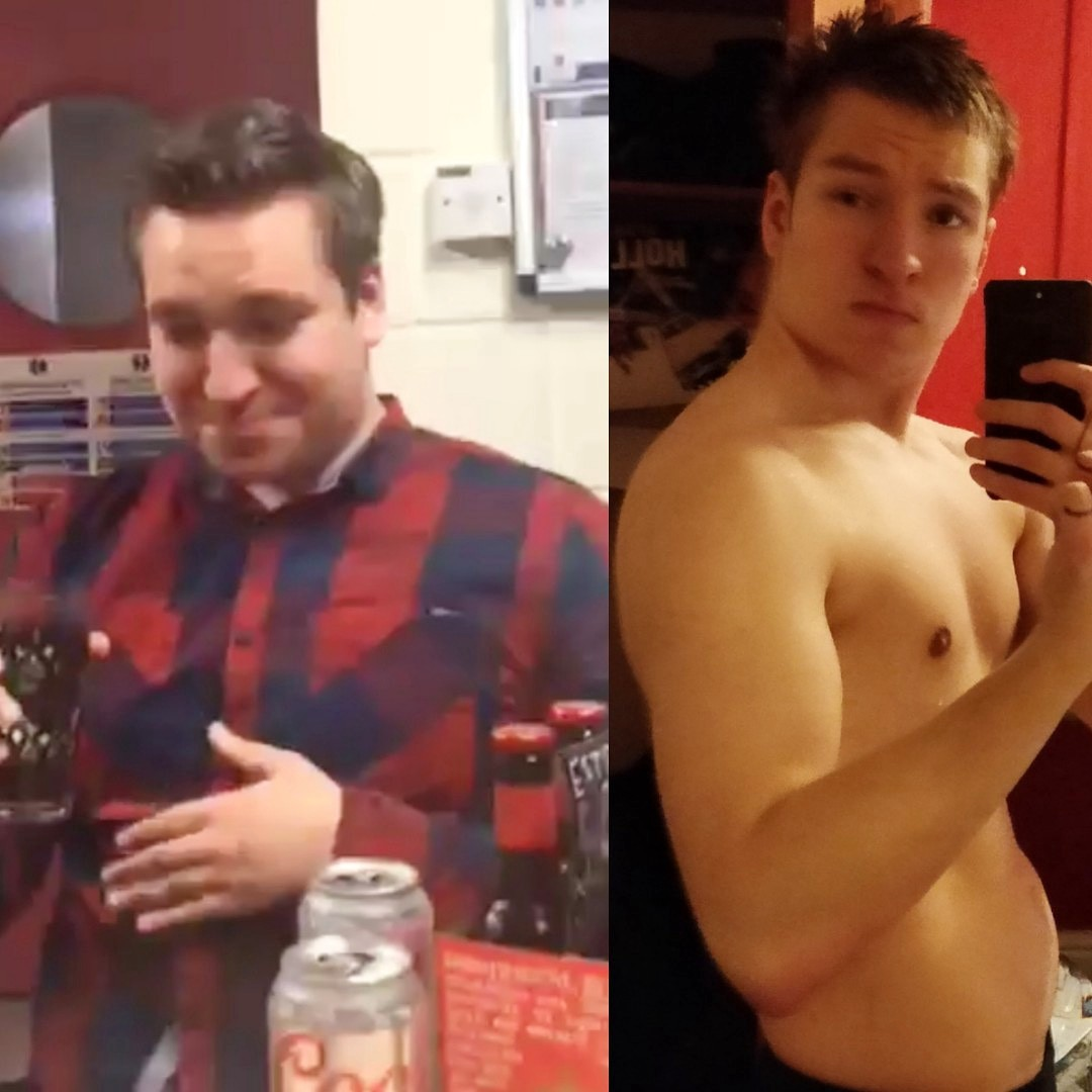 A before and after picture of myself. On the left, I weigh 265 pounds, on the right, I weigh 90 pounds less.