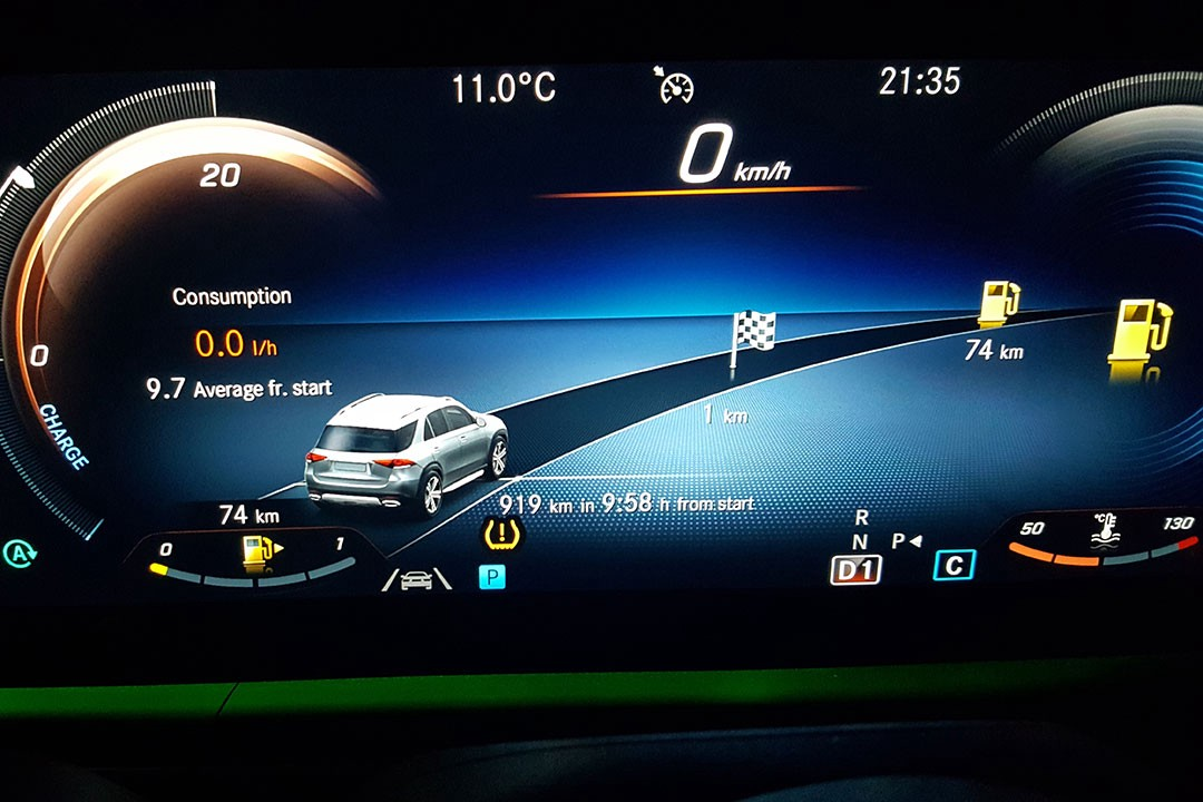 Fuel consumption display in the Mercedes-Benz GLE400d