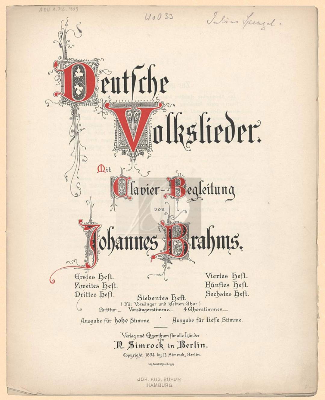 Title Page of Deutsche Volkslieder (Simrock, 1894)