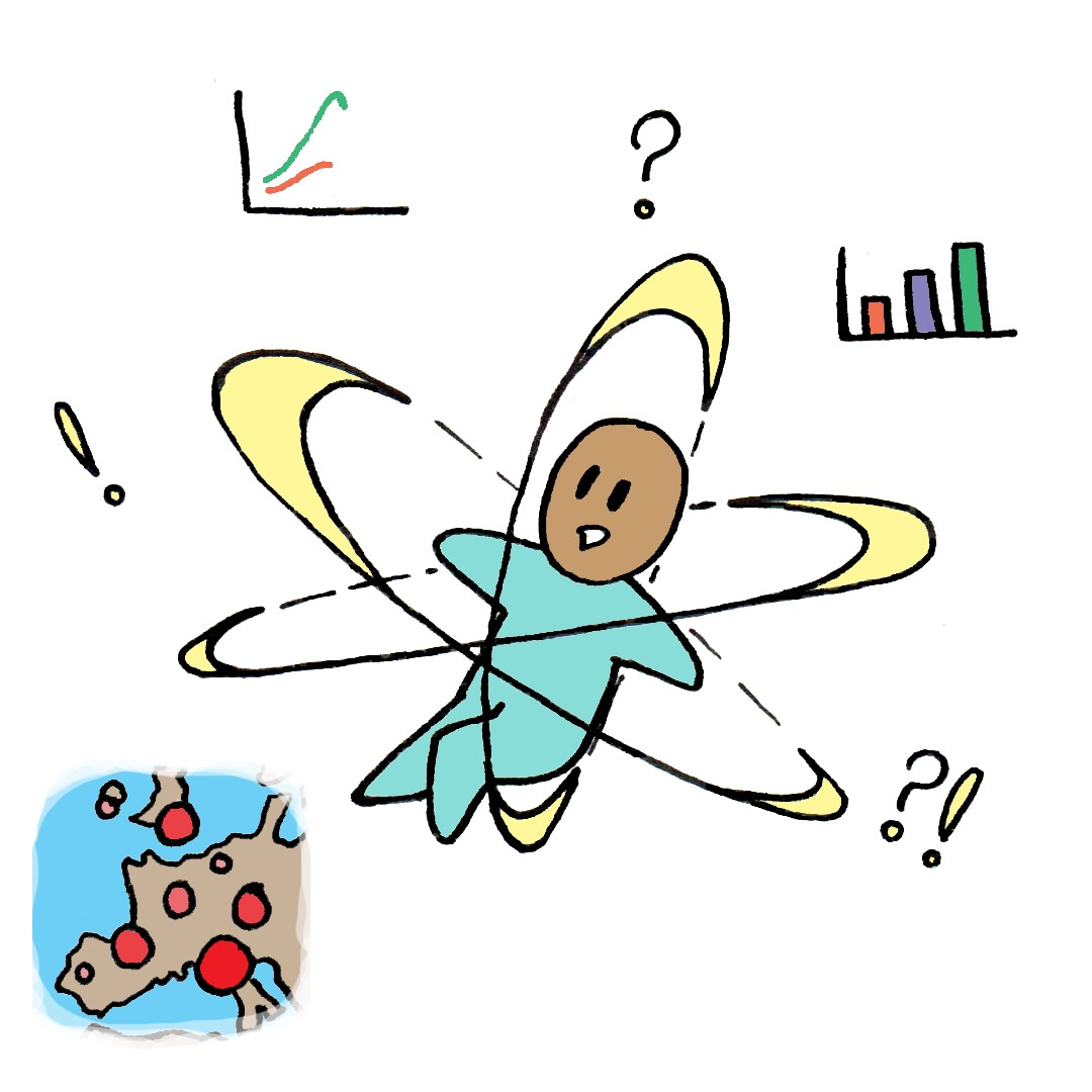 Image of a confused person floating with data visualisations and questions marks swarming around them.