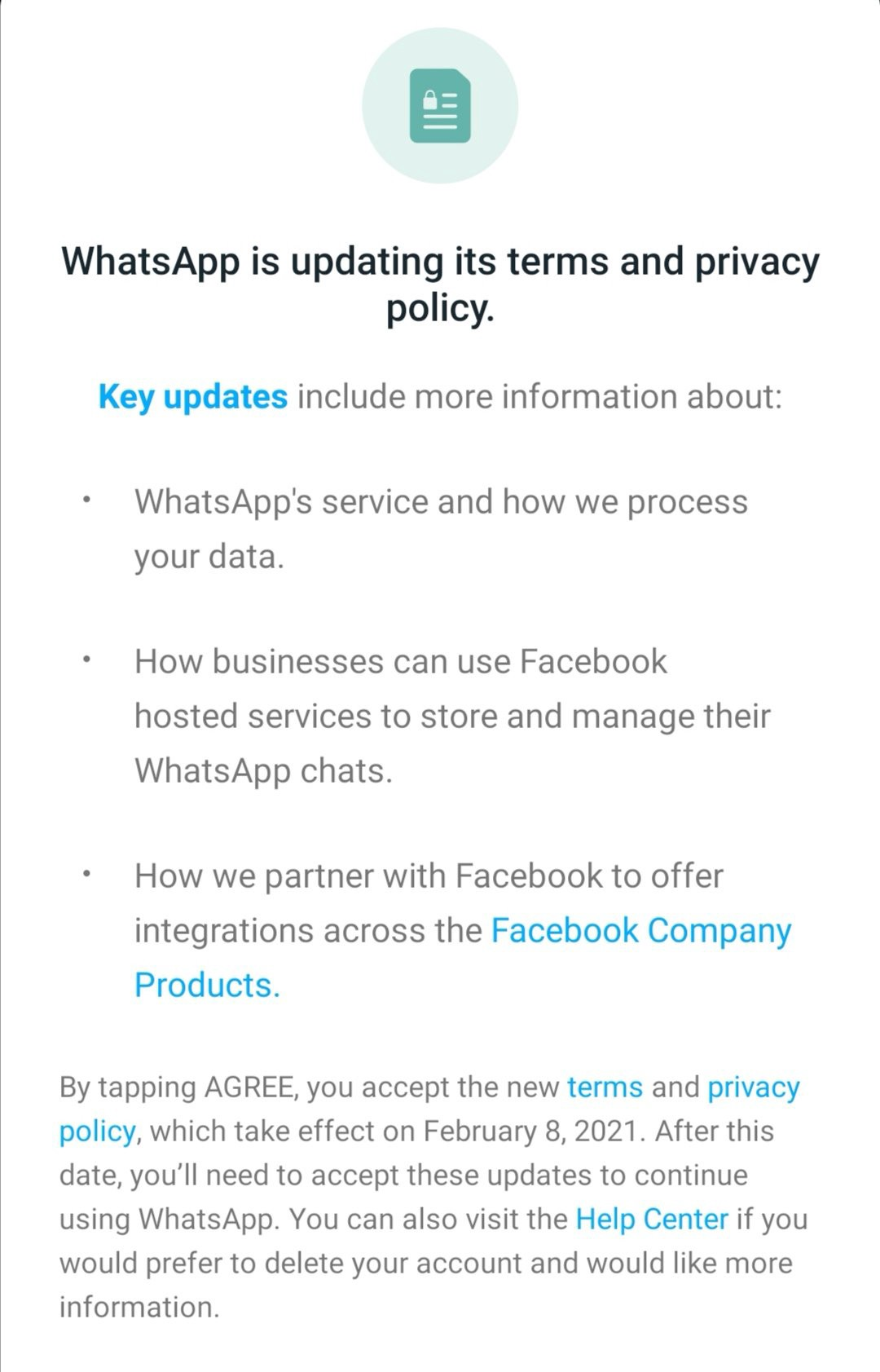 whatsapp new policy third parties