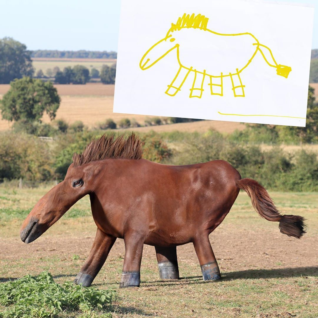 A child's drawing of a horse with a huge nose and its legs all in a row, next to a realistic version of the drawing.