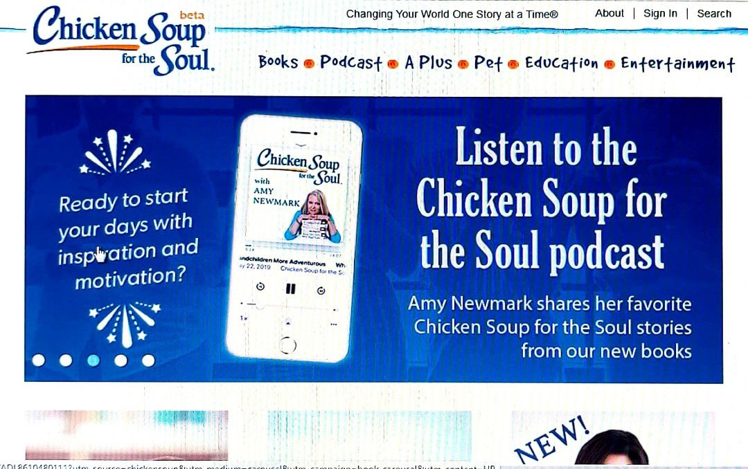 screenshot of Chicken Soup for the Soul home page