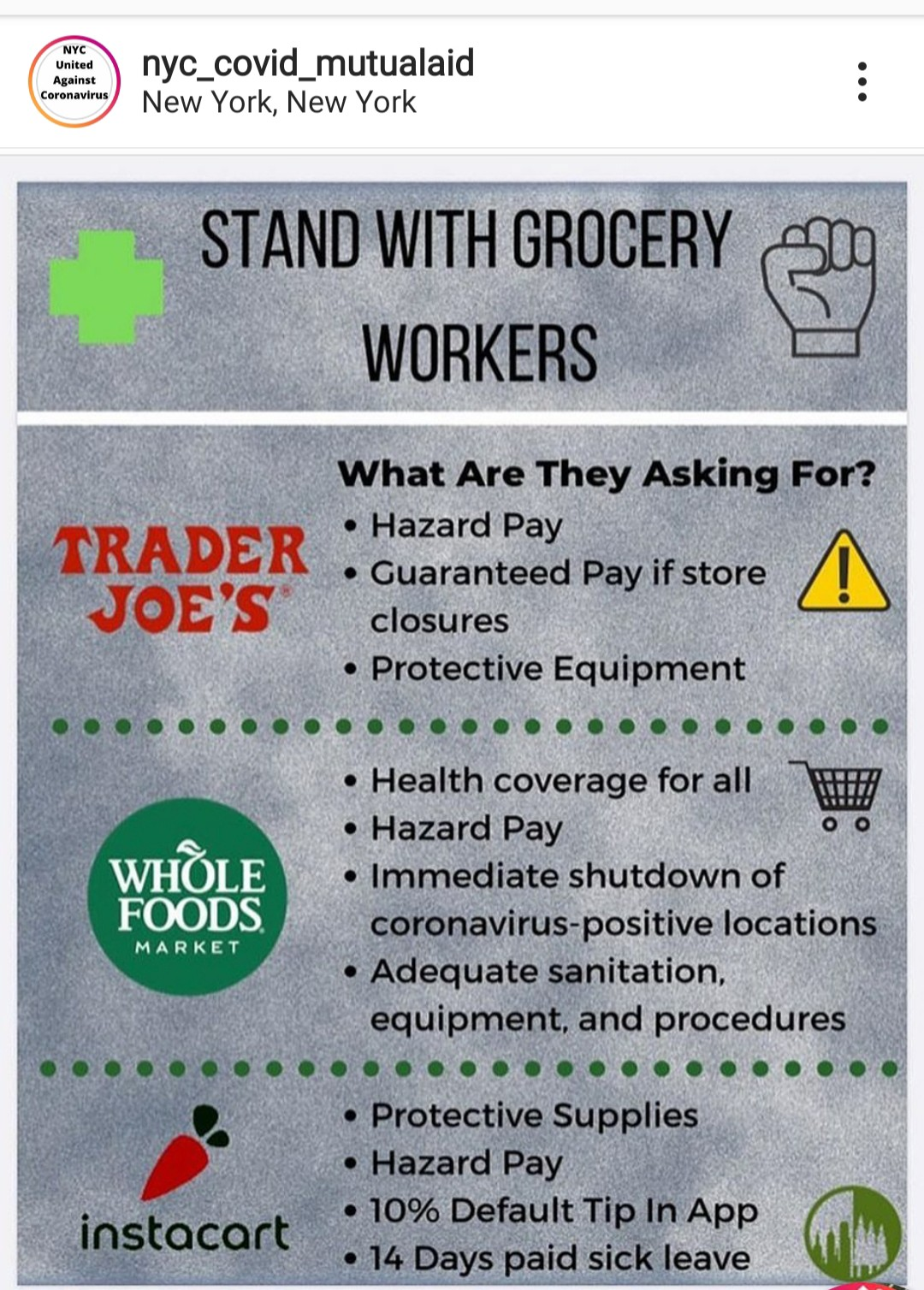 Image outlining what grocery store workers at some establishments are asking for right now.