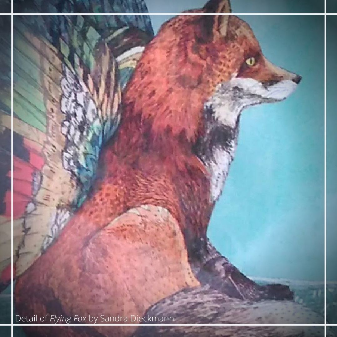 A detail of the artwork Flying Fox by Sandra Dieckmann. It shows a fox with colourful butterfly wings.