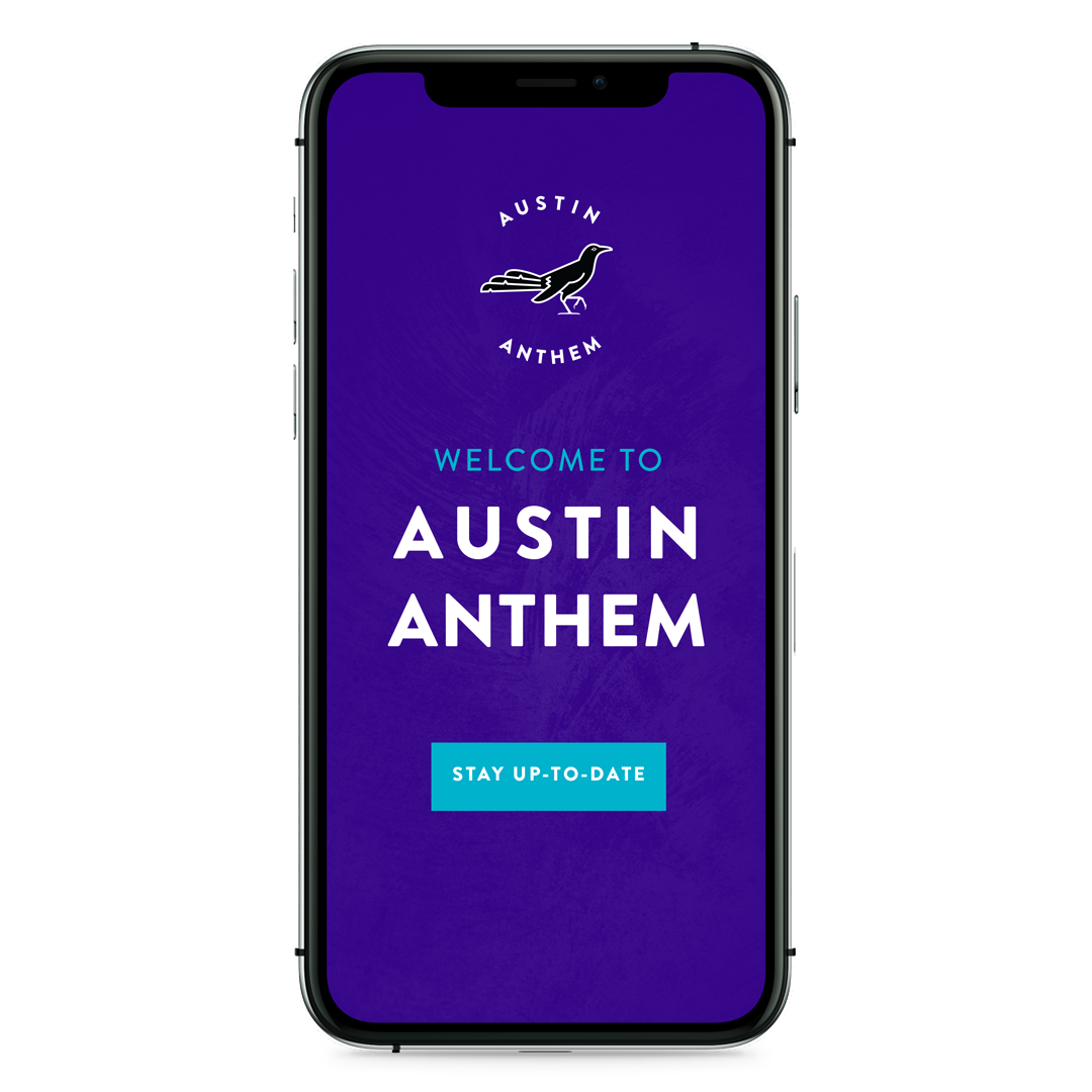 "Mobile screenshot labeled ""Welcome to Austin Anthem"""