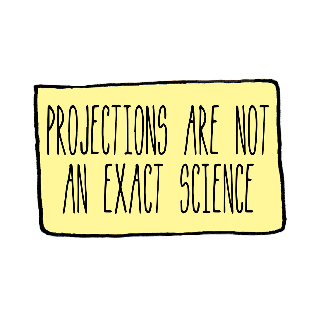 Caption box: projections are not an exact science