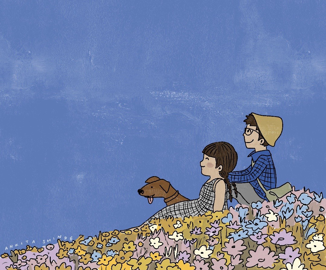 An illustration of Ankita and I along with our pet dog made in the style of Heidi