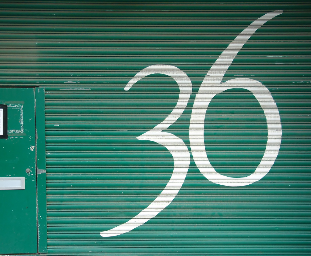 The number 36 is a pretty special kind of number, this graphic on a garage door is a painted number thirty six in white
