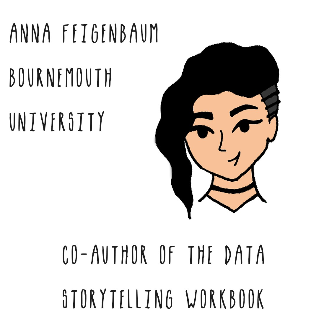 Image of a woman with black hair. Text: Anna Feigenbaum, Bournemouth University, Co-Author of The Data Storytelling Workbook