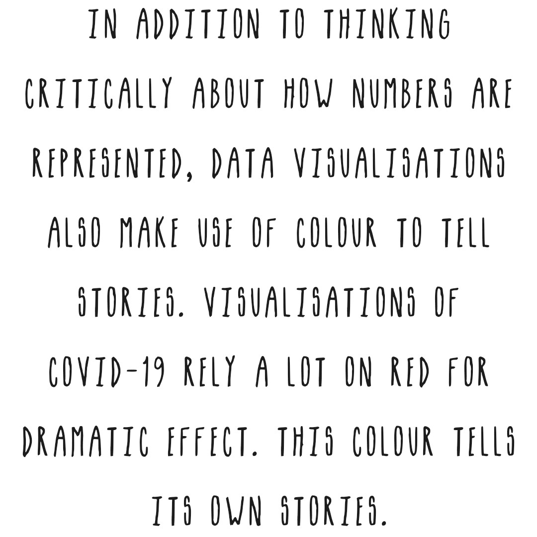 Another element to analyse is color. Red is used a lot in COVID-19 data visualisations but this color has its own story.