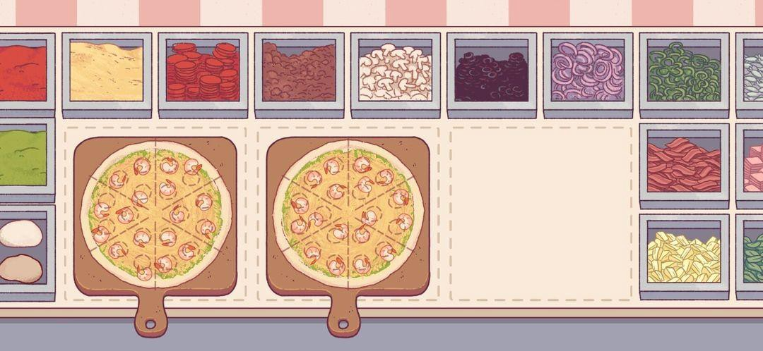 A screenshot of a game: A pizzeria's counter is covered in multiple toppings and two pizzas are on cutting boards ready to bake in the oven.