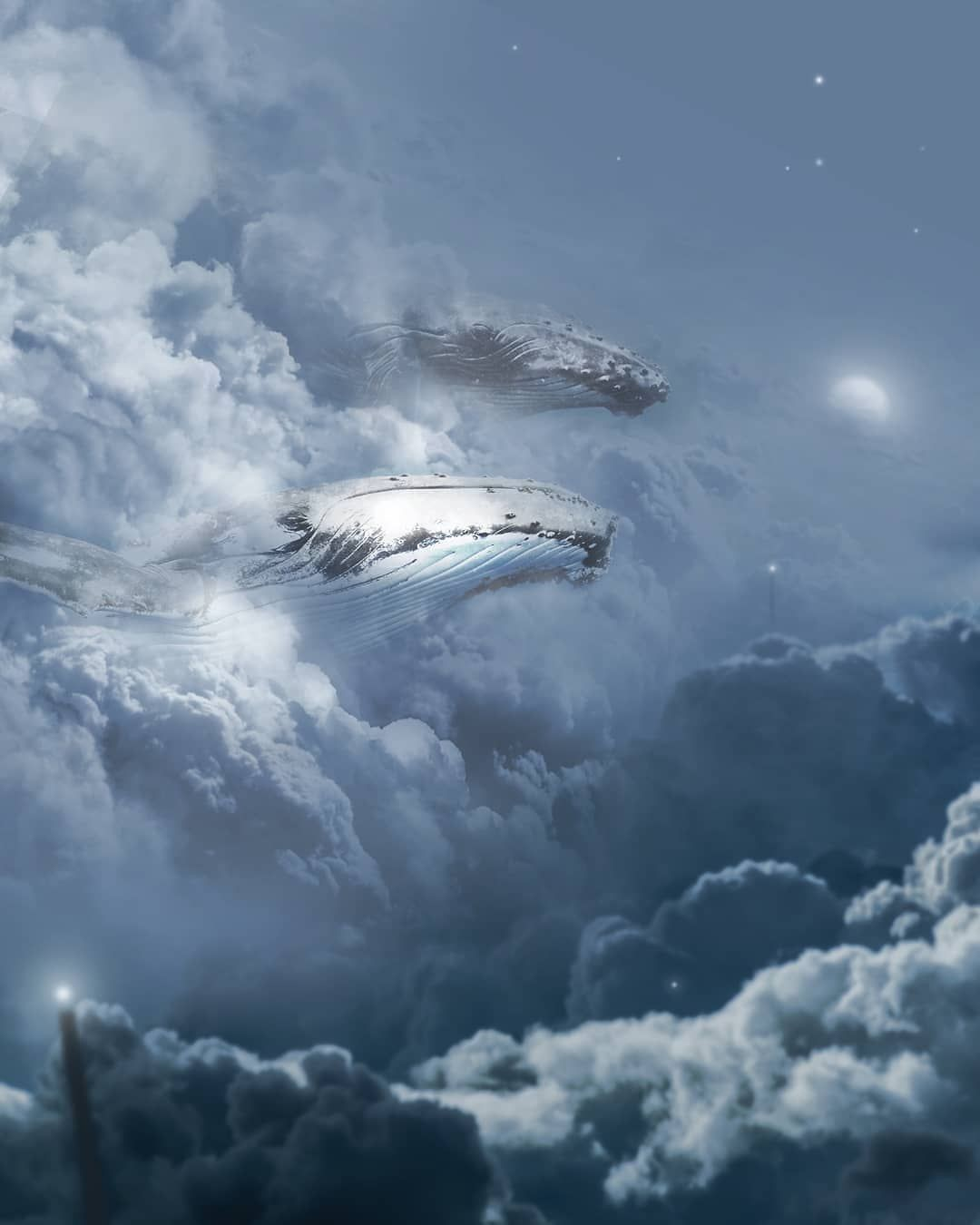 whales in the clouds with a full moon art edit poster
