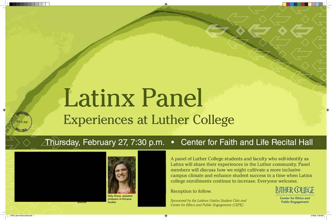 Announcement for Panel on the Latinx Experience at Luther College with Dr. Kelly Kean Sharp