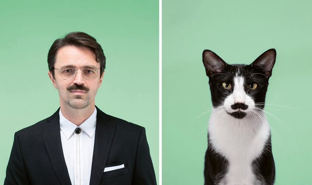 A young man with a trimmed mustache and suit poses next to a black and white cat with a mustache-like face marking