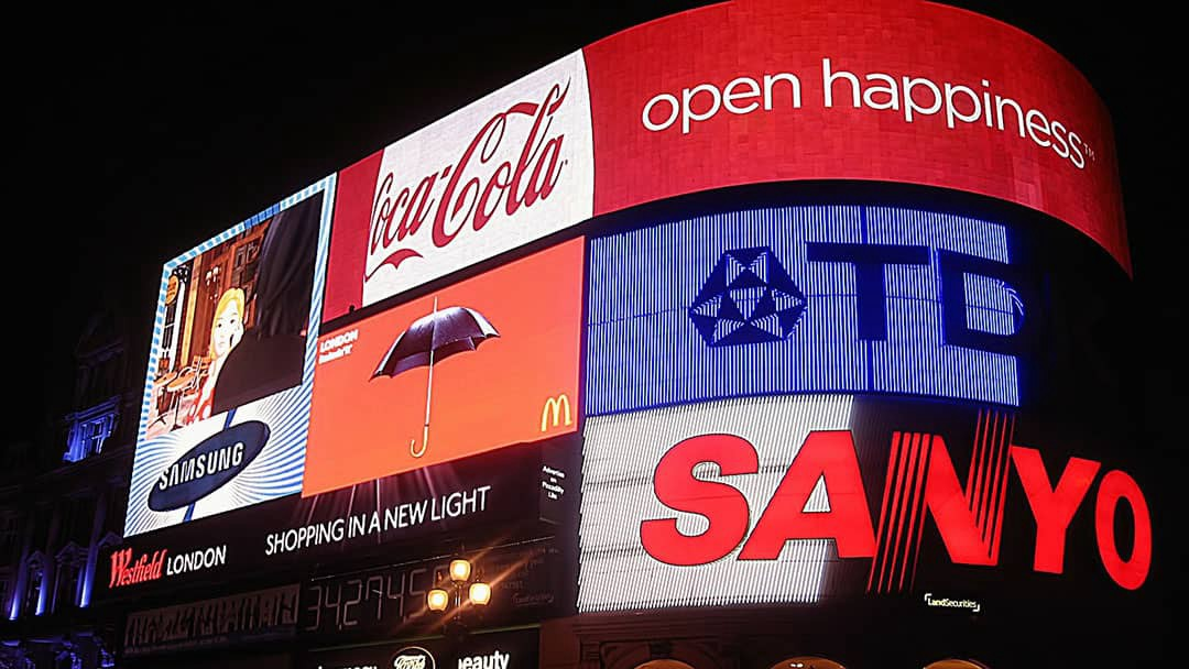 Picadilly Circus Brands on display