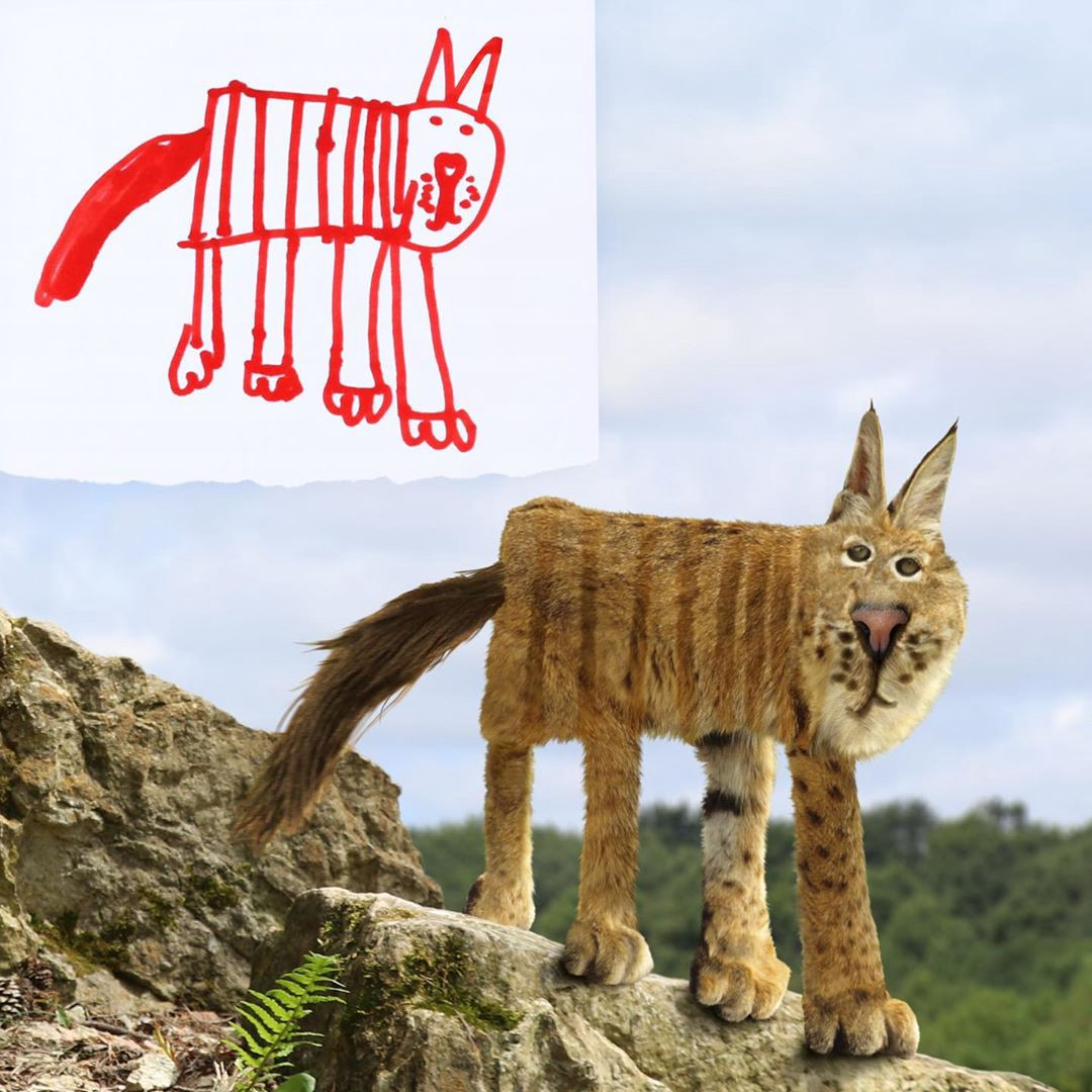 A child's drawing of a boxy lynx with its legs all in a row, next to a realistic Photoshopped version of the drawing.