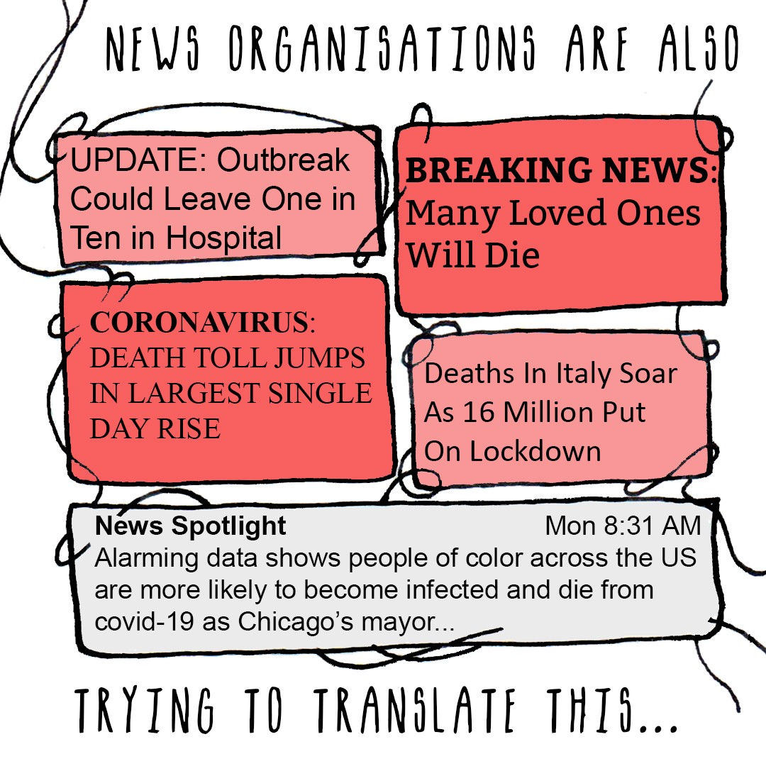 Image of different COVID-19 news headlines. Text saying: news organisations are also trying to translate this…