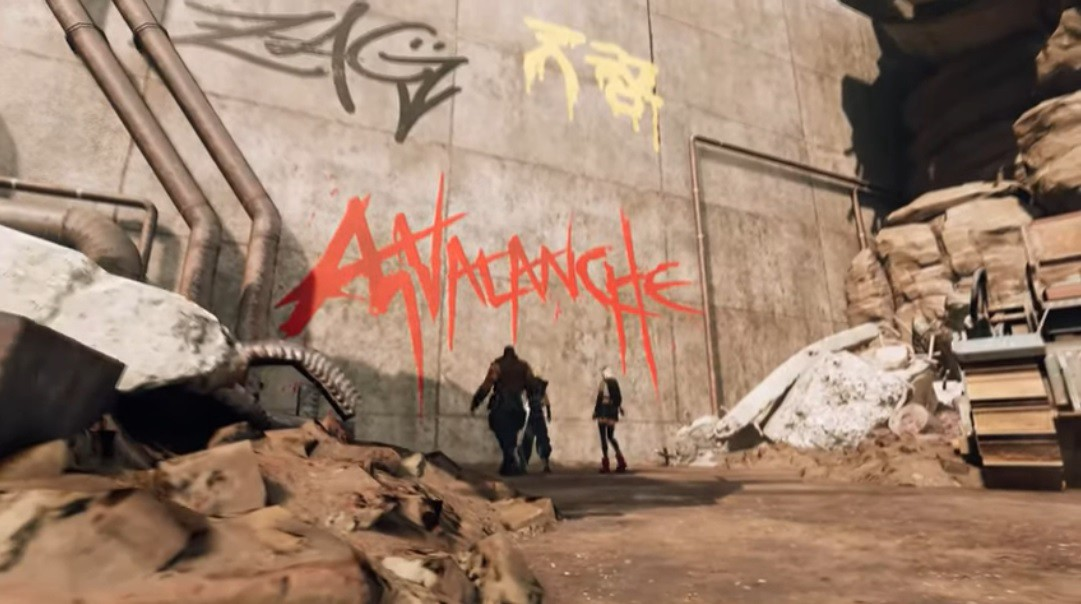 Cloud, Tifa and Barret stand in front of the Avalanche graffiti wall in the Midgar slums.