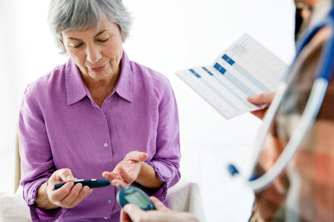 A senior woman taking her glucose levels