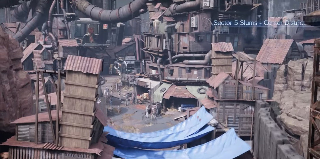 The entrance sequence to Midgar's Sector 5 Slums.