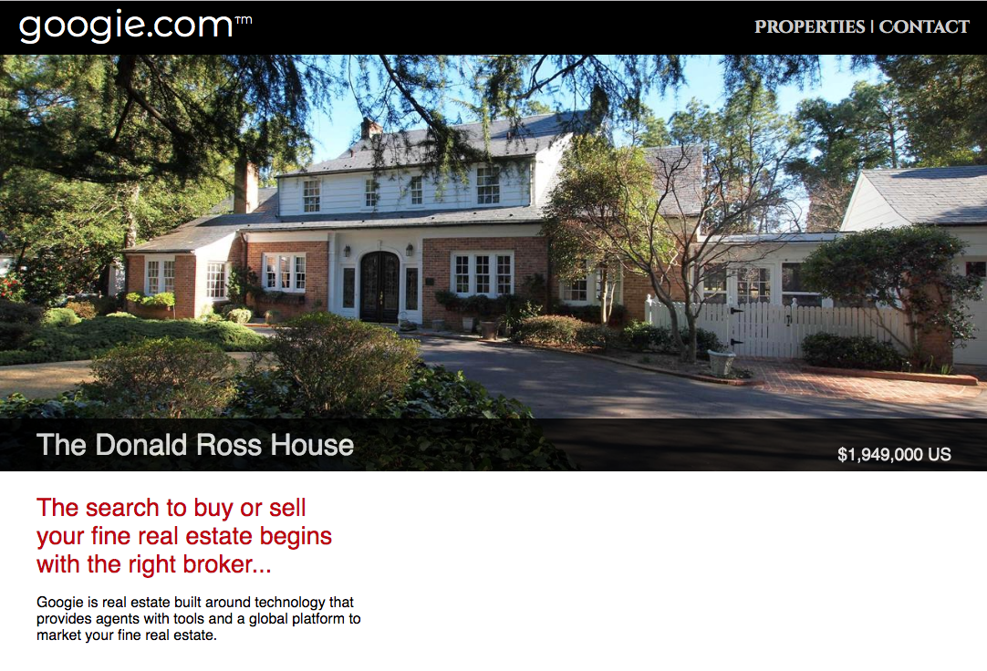 Screenshot of the home page of googie.com, a website for a real estate company