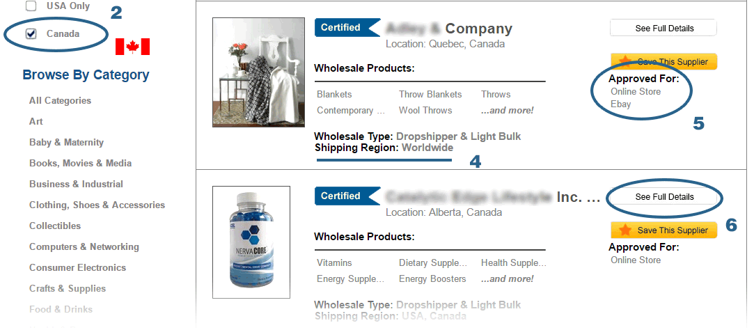 Worldwide Brands review—this is the search page where you can select which country to search for suppliers in