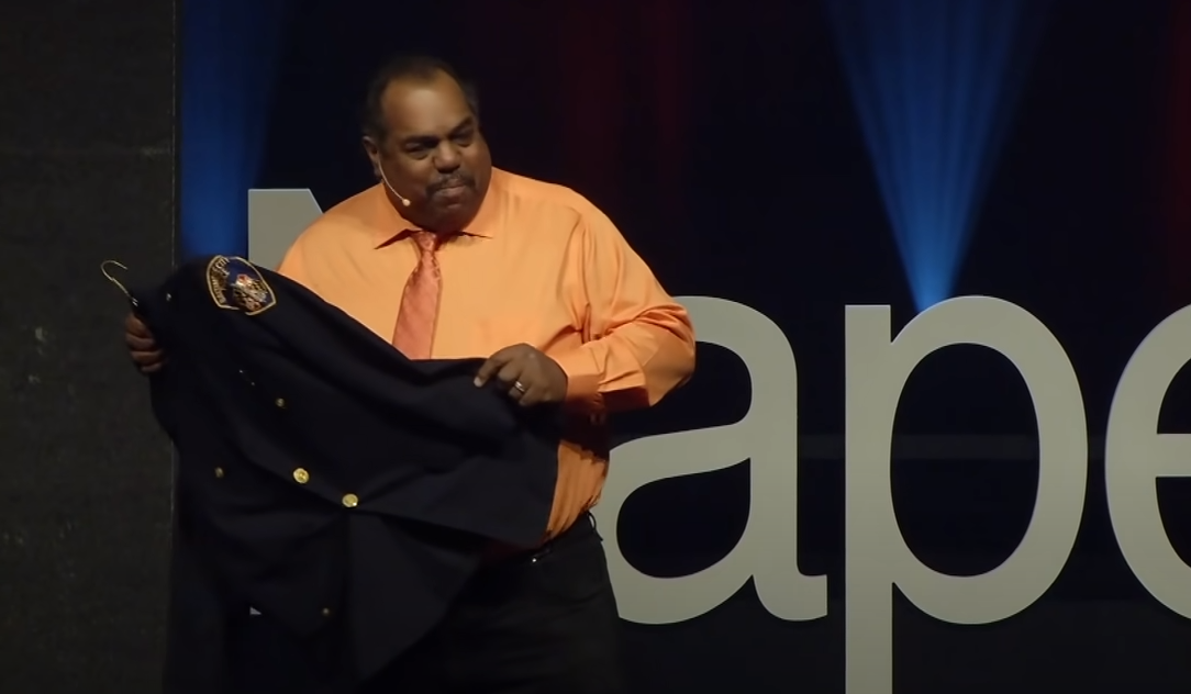 Image of Daryl Davis with Robert White's police uniform