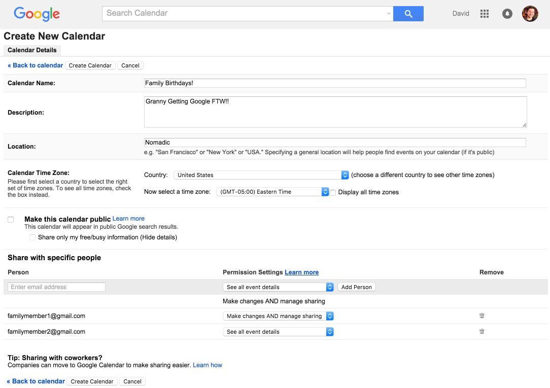 Getting Granny Google: Creating a shared family birthday