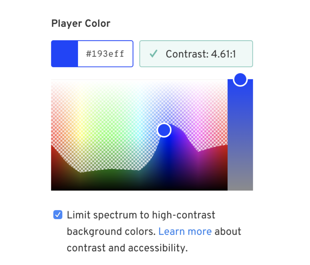 """A color picker with a checkbox selected that reads """"Limit spectrum to high-contrast background colors"""""""