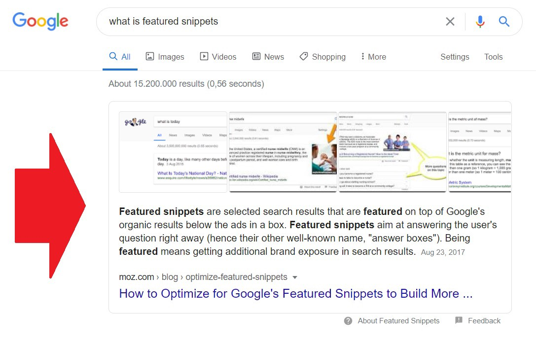 Examples of featured snippet in Google