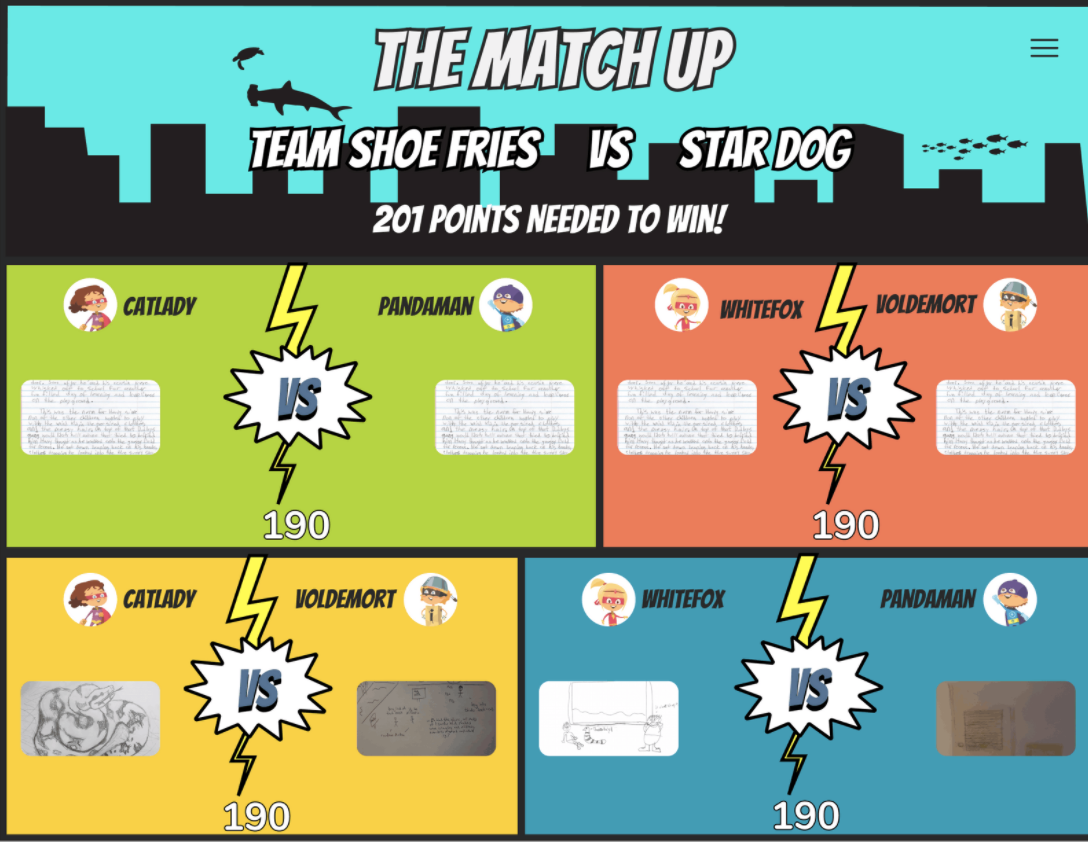 StorySquad faceoff page displaying children matched to compete with each other based on writing and drawing submission.