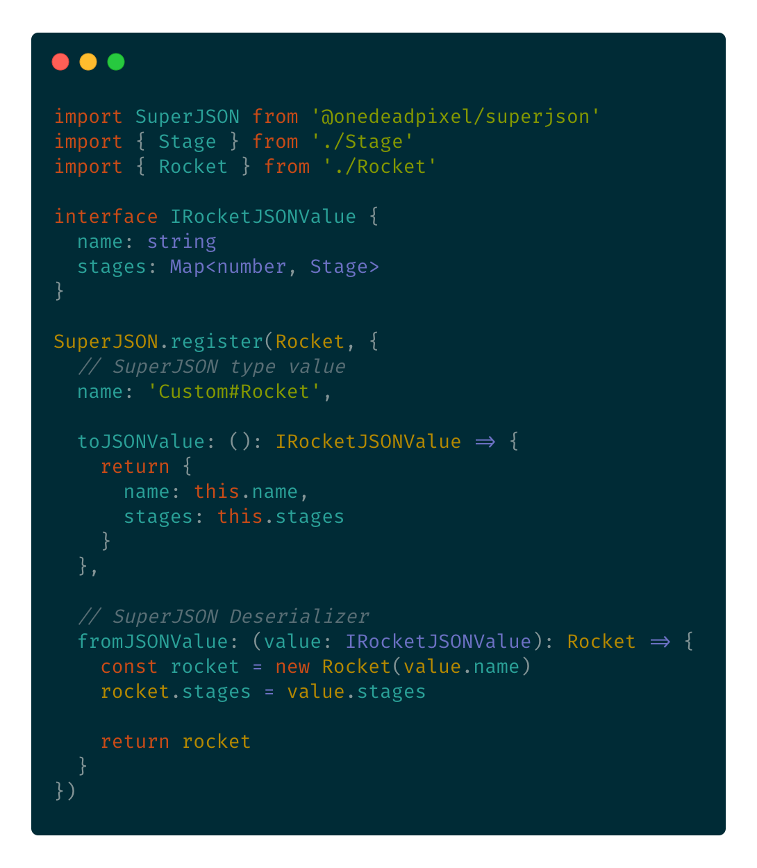 Code example showing how to pass custom serializers and deserializers to register.