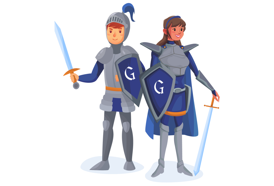 Social Guardian — Two knights with a sword and sheild.