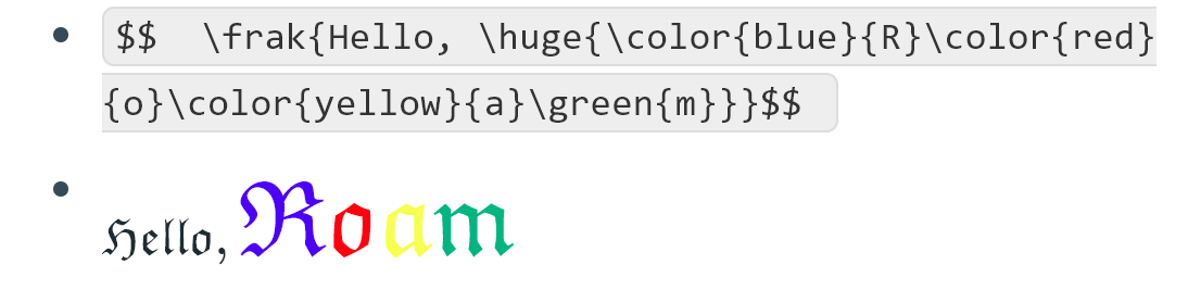 Combination of different fonts, font sizes and colors.