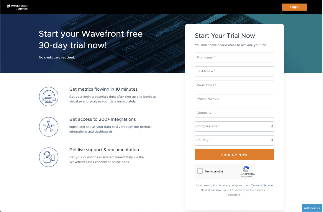 Screenshot of new sign up form for Wavefront's 30 day free trial