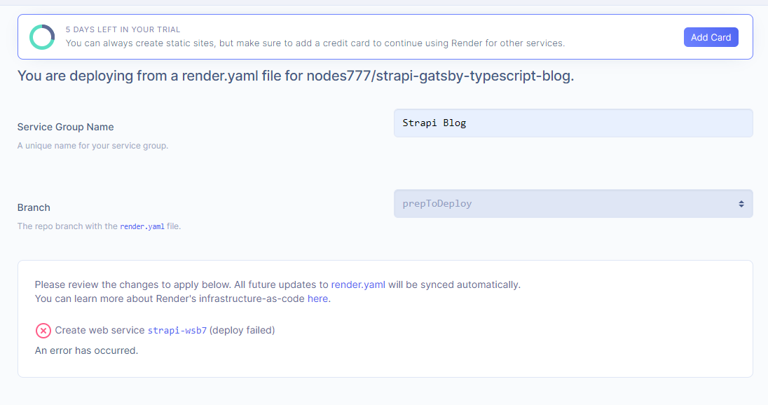 Render's backend YAML deploy failure