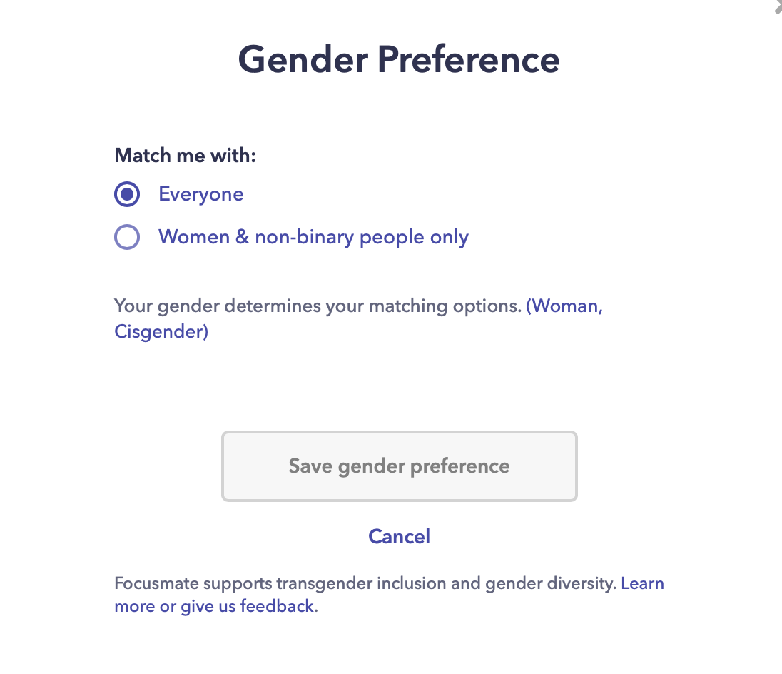 Gender matching feature on Focusmate.