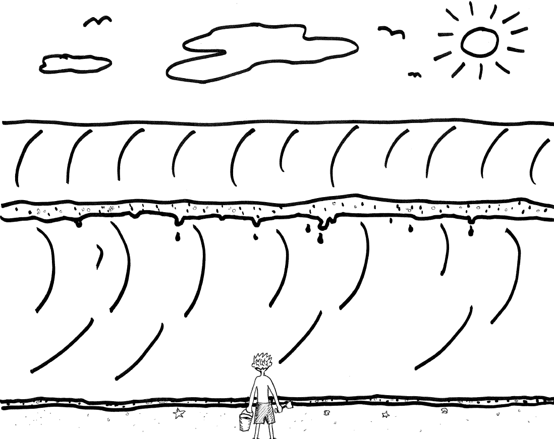 Cartoon illustration of person standing in front of wave