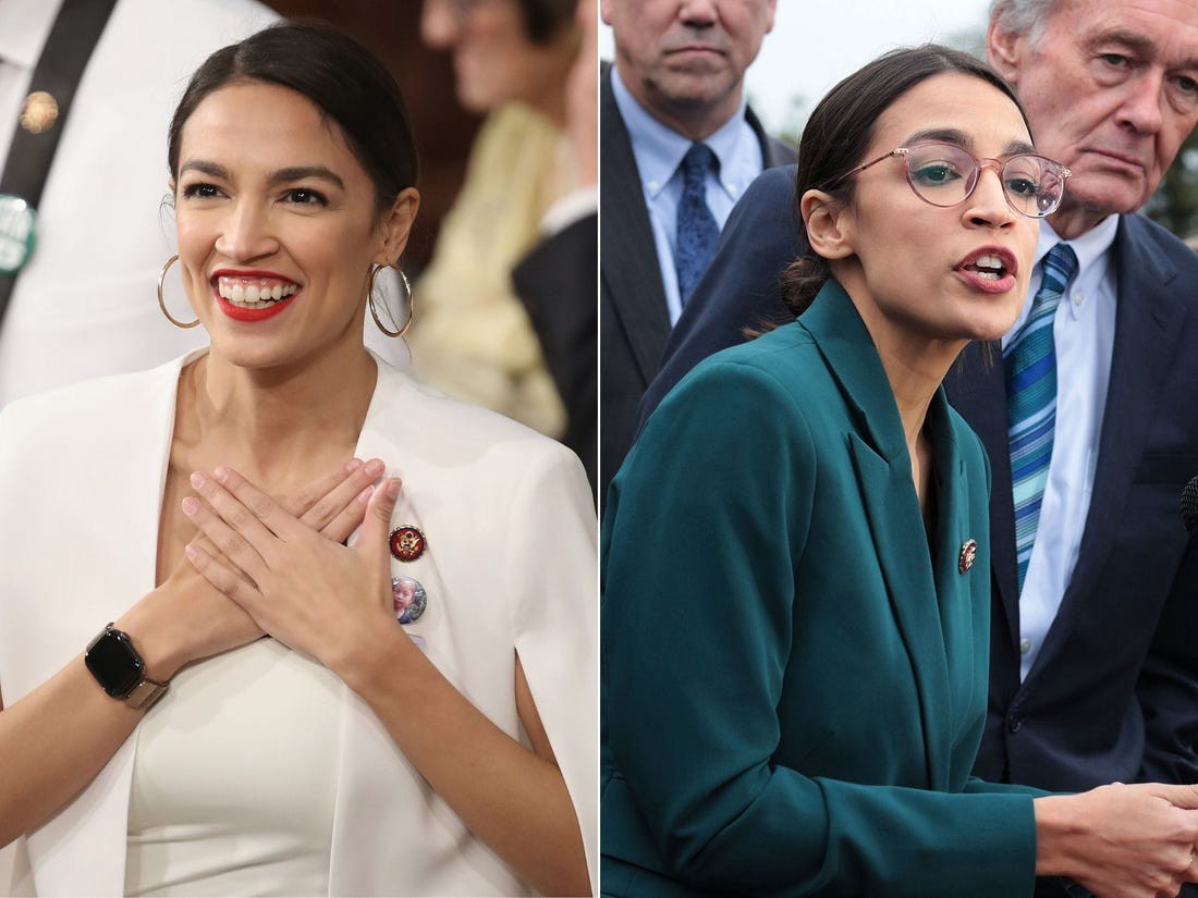 Ocasio-Cortez isn't afraid to make style statements, including wearing a bold red lip.